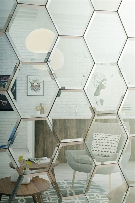 Hexagon Bevelled Mirror 10pcs 1 wall tiles tile and silver on