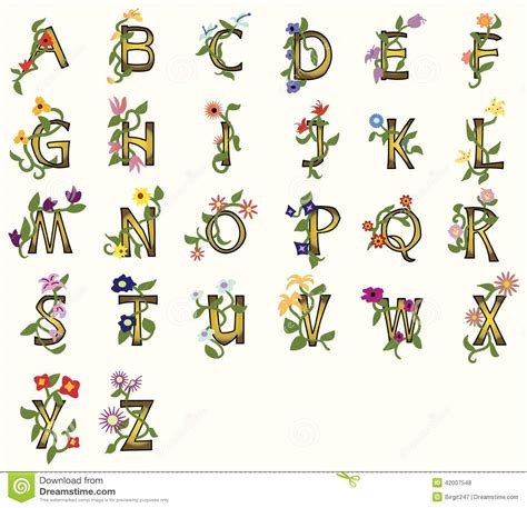 floral pattern font floral fonts stock vector image 42007548