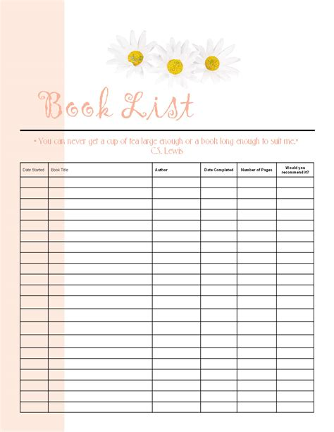 picture book database free reading list printable 21 lines filofax