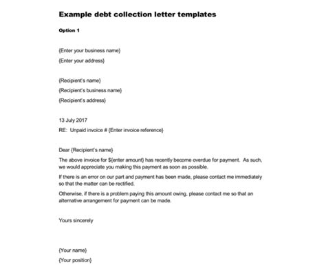 debt collection letter samples examples writing tips