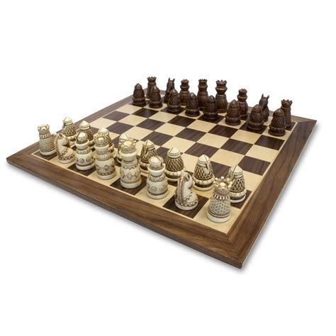 chess sets medieval chess set polystone pieces with a wooden board