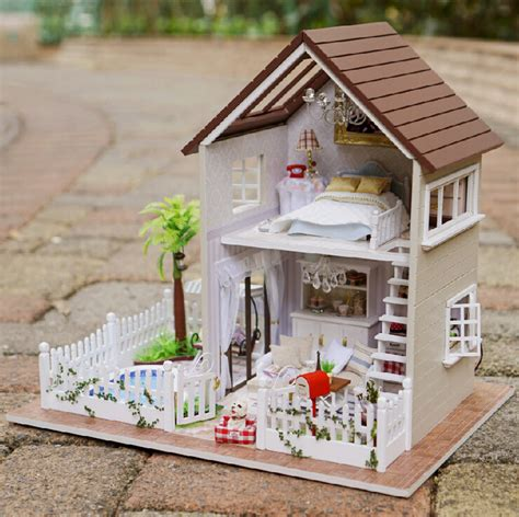 Diy 3d Wooden Doll House Furniture Wood Dolls Light Dollhouse Miniature House Toy