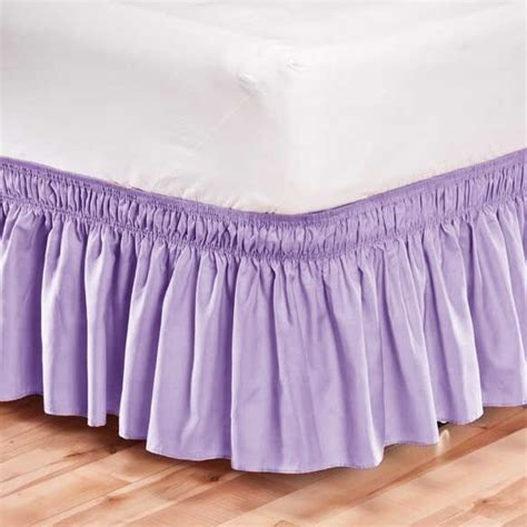 elastic bed skirt dust ruffle easy fit wrap around lavender color size ebay