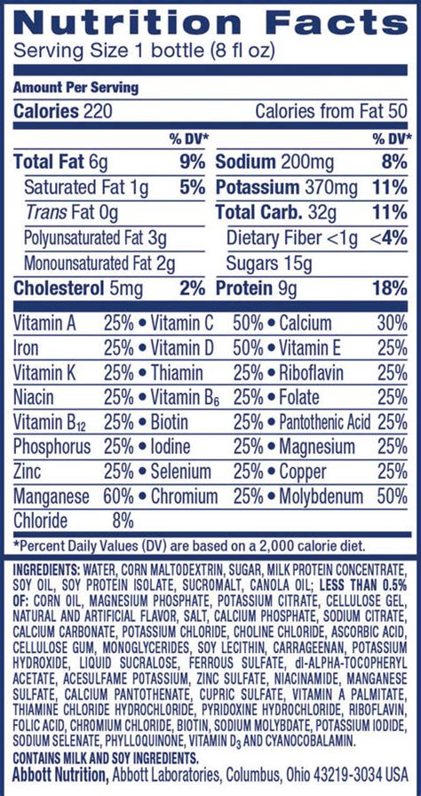 d protein ingredients ensure 174 vanilla nutrition shake 6 pack 8oz each target