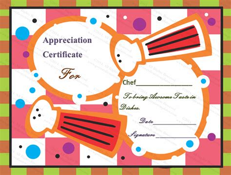 cooking certificate template awesome taste certificate of appreciation template
