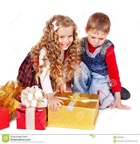 gift children with gift box royalty free stock images