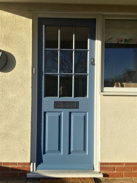 Front Door Ironmongery Timber Entrance Door Painted Ral 5014 Fitted With Contemporary Stainless Steel Ironmongery