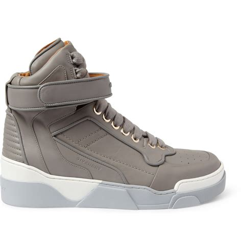 high top sneakers mens givenchy leather high top sneakers in gray for lyst