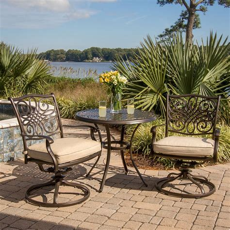 3 patio dining set shop hanover outdoor furniture traditions 3 bronze