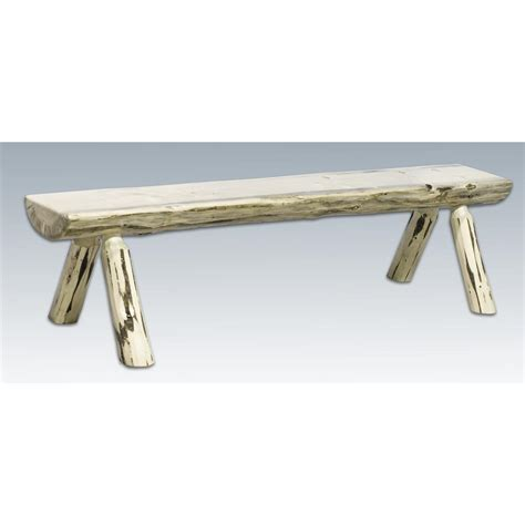 half log bench montana woodworks 174 4 half log bench lacquered 178541