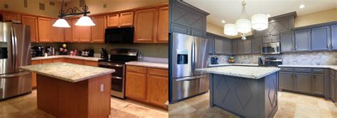 kitchen cabinets refinished oak kitchen cabinets painted before and after home photos
