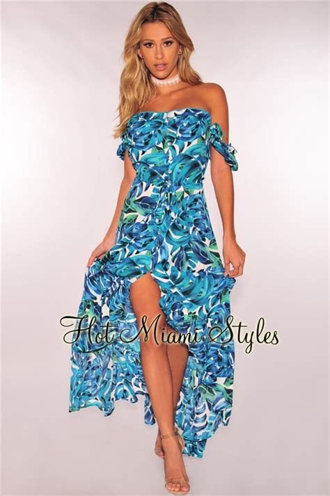 Mini Dress Gaun Bodycon Green Tropical Floral L Import Original blue green tropical shoulder ruffle high low maxi dress
