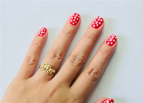 how to decorate nails at home how to paint polka dot nails with a toothpick 9 steps