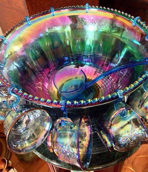 antique vintage blue carnival iridescent glass bowl sunburst pattern vintage indiana blue purple iridescent from