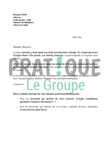 Demande De Droit D Option Lettre Lettre De Demande D Allocation Sp 233 Cifique De Solidarit 233 Aux Assedic Pratique Fr