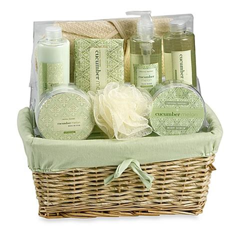 bed bath and beyond gift baskets crystal waters cucumber melon gift basket set bed bath