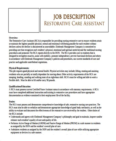 Restorative Assistant Resume Cna Description Advanced Registered Practitioner Requirements Description And
