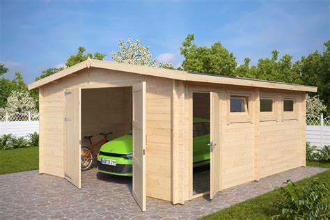 large garage large wooden garage hansa b with double doors 44mm 4 5