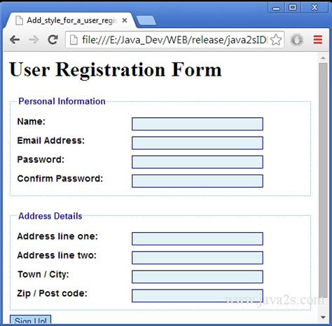 add style for a user registration form in html and css