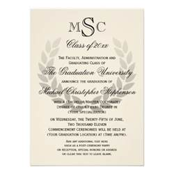 laurel crest monogram classic college graduation custom invites