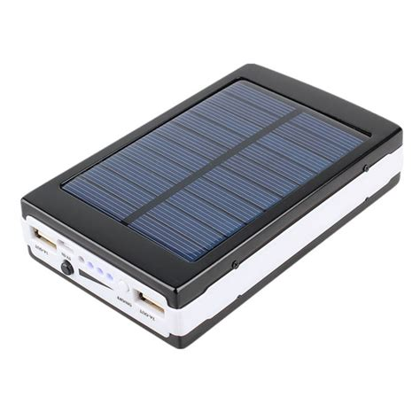 Power Bank Solar 7 000 mah solar power bank with led panel light black