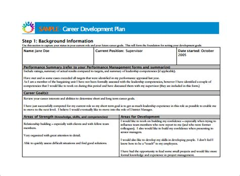 District Professional Development Plan Template by Career Development Plan Career Development Plan Template
