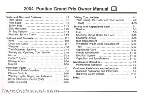 service manuals schematics 2004 pontiac grand prix windshield wipe control 2004 pontiac grand prix owners manual