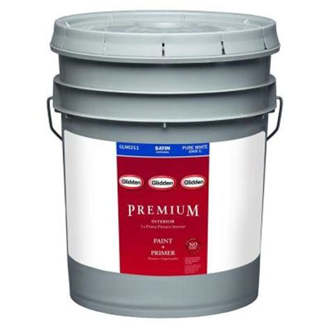 home depot 5 gallon interior paint glidden premium 5 gal pure white satin interior paint
