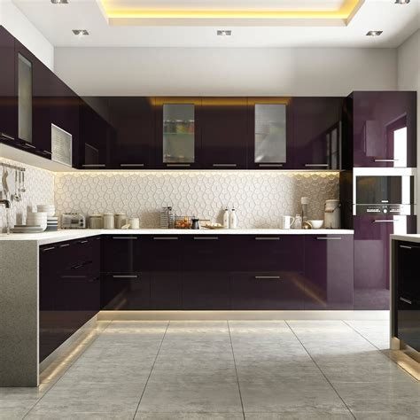 modular kitchen styled  burgundy hues modular kitchens
