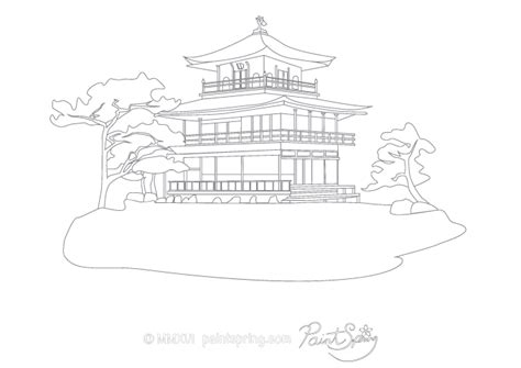 japanese temple coloring page printable japan adult coloring book paintspring