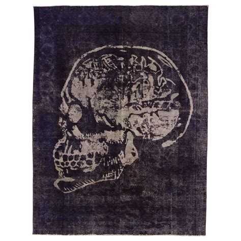 skull rug vintage tabriz rug overdyed with skull design at 1stdibs