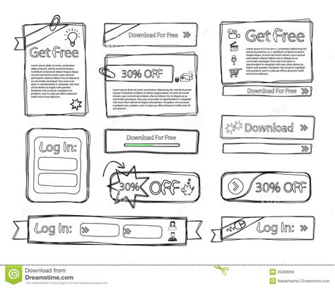 doodle free website sketchy web set doodle royalty free stock images image