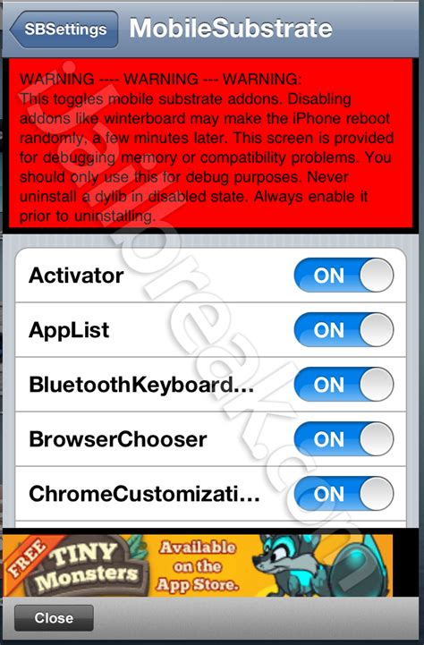 how to uninstall sbsettings ipod touch fix and remove broken glitch cydia tweaks using sbsettings