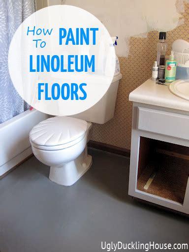 how to paint a bathroom floor painted vinyl linoleum floors ugly duckling house