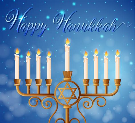 happy hanukkah card template  candlelights   vectors clipart graphics