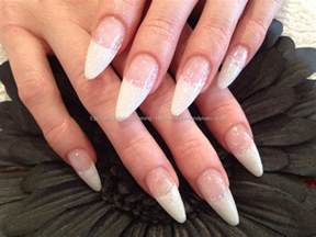white tip nails with glitter