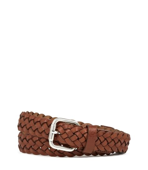 reiss kupple lattice weave trimmed leather belt in brown