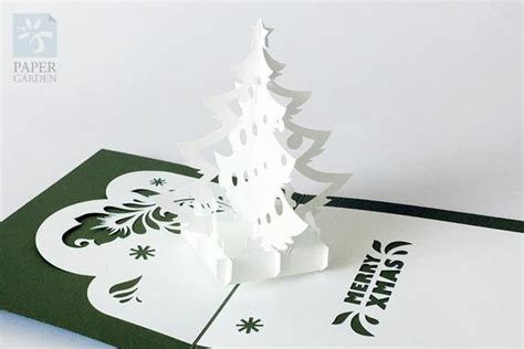 pop up card box template christmas papercut template pop up card tree instant