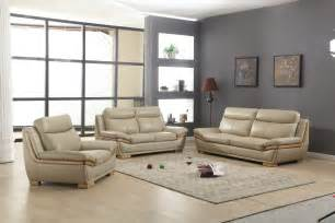 Lush Taupe Leather 3 Piece Sofa Set with Eucalyptus Wood Accent Phoenix Arizona CH KINGSTON
