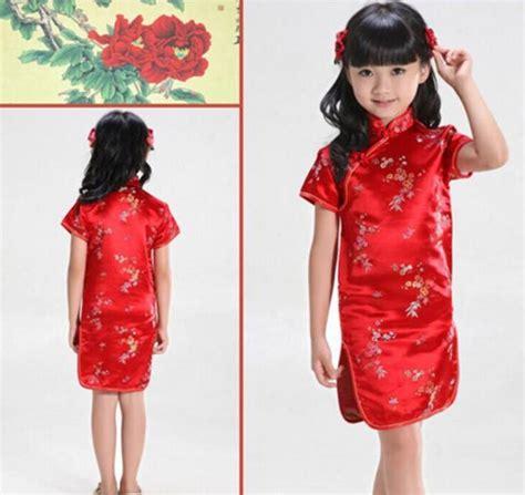 jual dress cheongsam baju cina anak perempuan merah