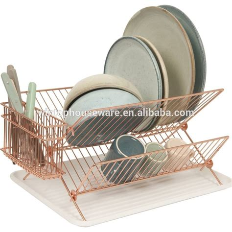 dish rack kitchen accessories hygienic chrome plated 2 tier dish