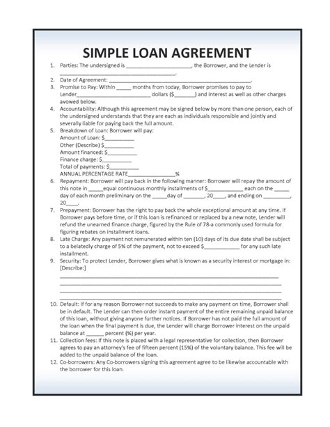 simple interest loan agreement template simple loan agreement template pdf rtf word