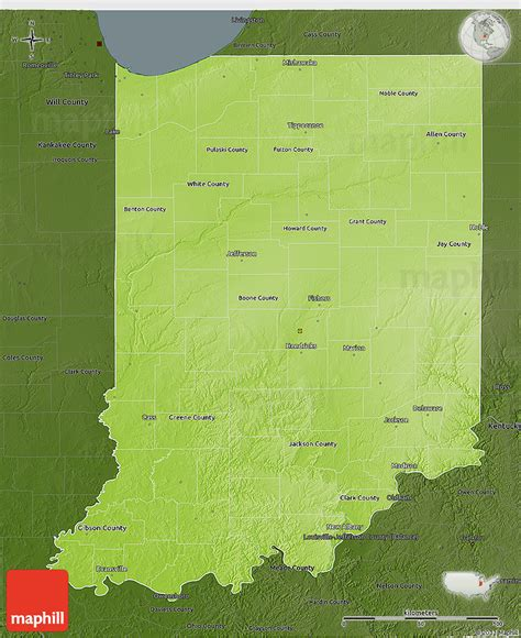 physical map of indiana physical 3d map of indiana darken