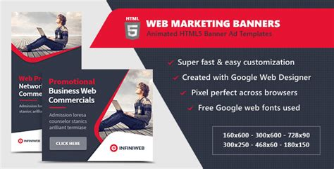 Html5 Ads Web Marketing Banner Templates By Infiniweb Codecanyon Html5 Banner Template