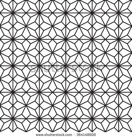 geometric pattern outline vector seamless black white hexagon lattice stock vector