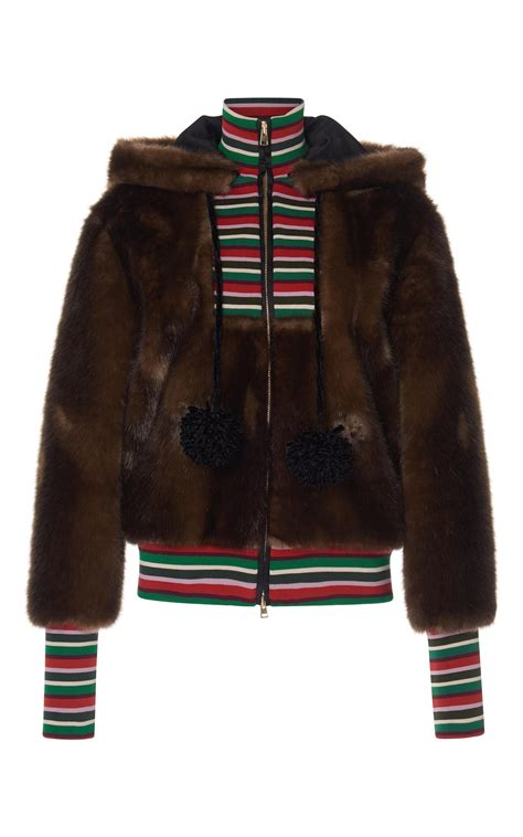 Hoodie The Combinations stella jean striped combo faux fur hoodie in brown lyst