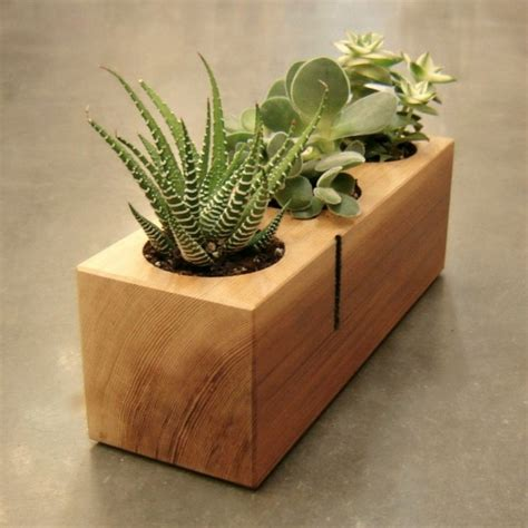 minimalistic handmade wooden planter designs