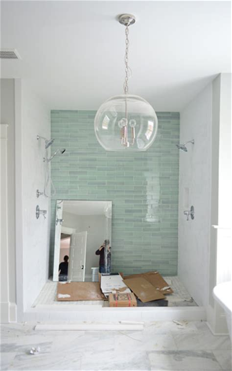 bathroom shower wall tile new haven glass subway tile pentagons polyhedrons hexes x es young house love