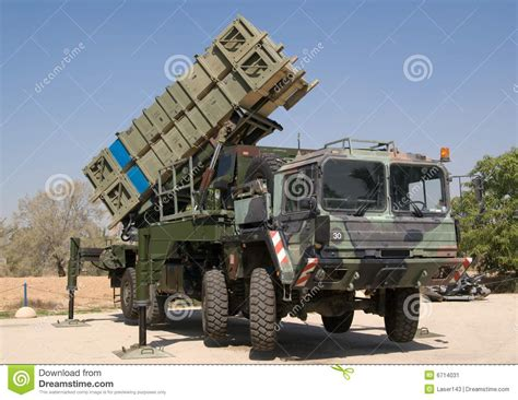 Anti Air anti aircraft missile system on heavy vehicle stock image