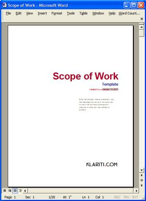 Scope Of Work Template Ms Word Excel Software Scope Of Work Template
